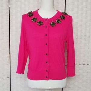 Kate Spade Hot Pink Embellished Cardigan